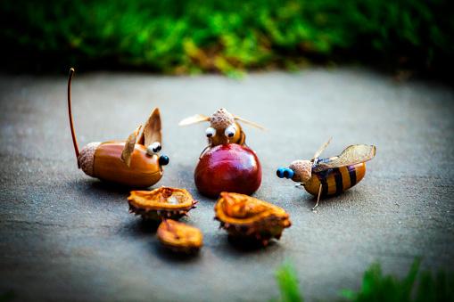 istock Handmade mouse bee acorn forest chestnut 1039869844