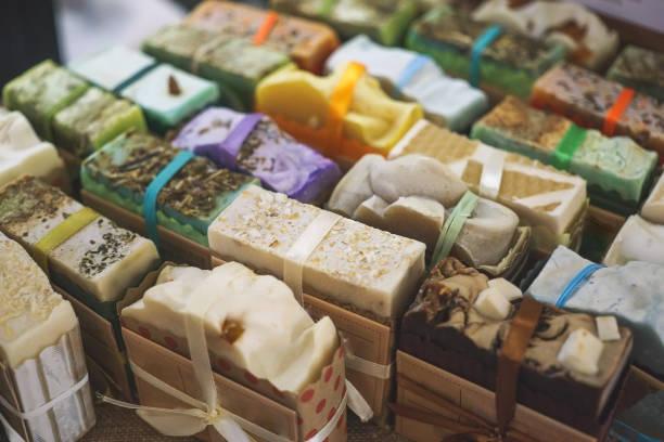 Handmade natural eco soap, selective focus stock photo
