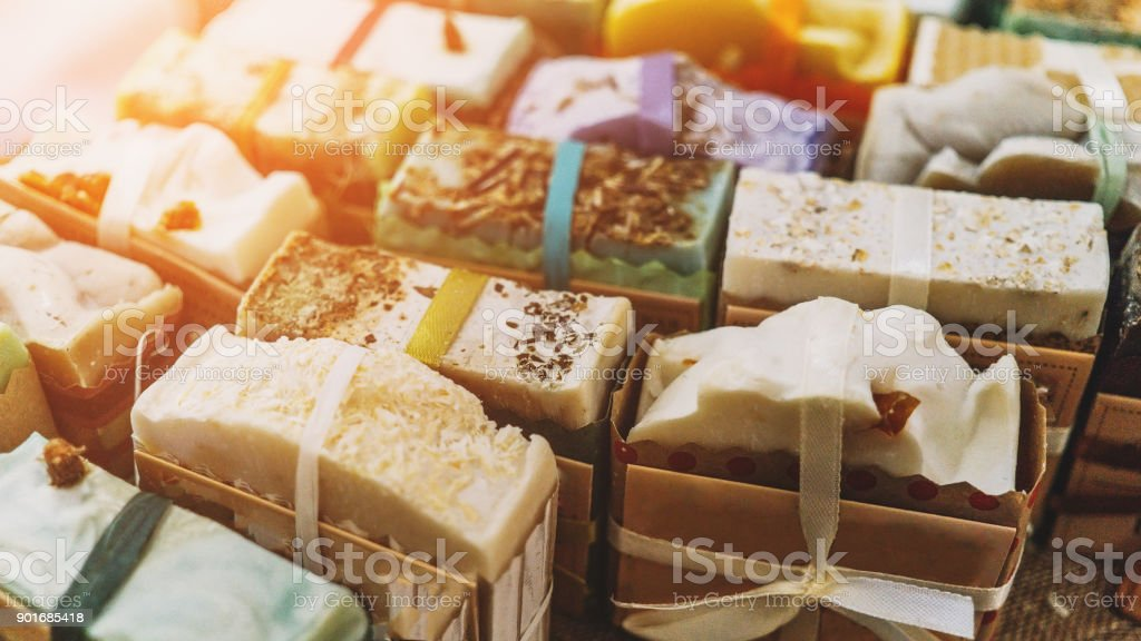 Handmade natural eco soap, selective focus stock photo