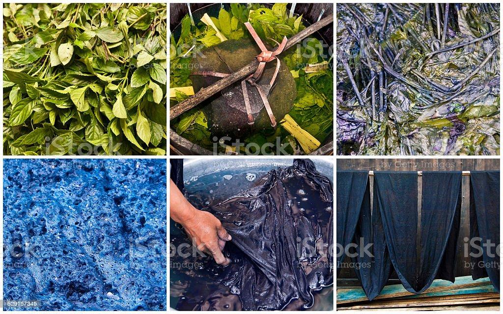Handmade natural indigo dye step by step collage, Guangxi, China stock photo