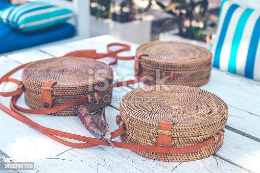 Handmade natural organic rattan handbag. Stylish bag.