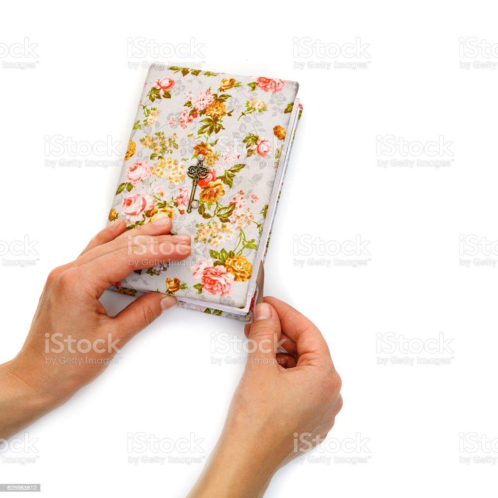 Handmade notebook with horseshoe bookmark stock photo