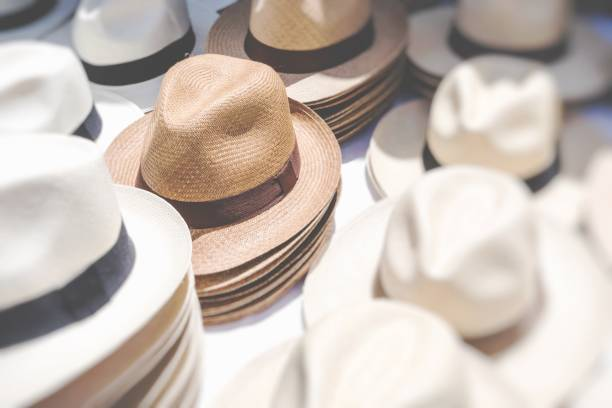 9d1475fa4f620 Handmade Panama Hats at the traditional outdoor market. Popular souvenir  from Central America. stock
