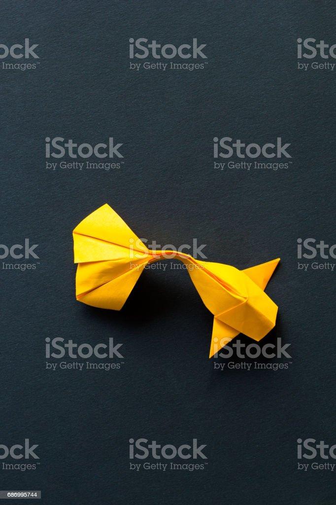 Handmade Paper Craft Origami Gold Koi Carp Fish On Black