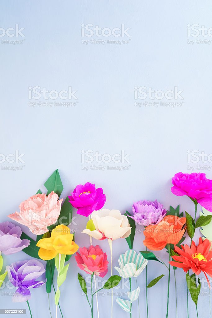 Handmade paper flowers stock photo