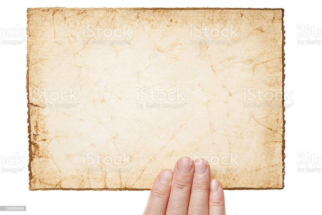 Handmade paper in woman hand royalty-free stock photo