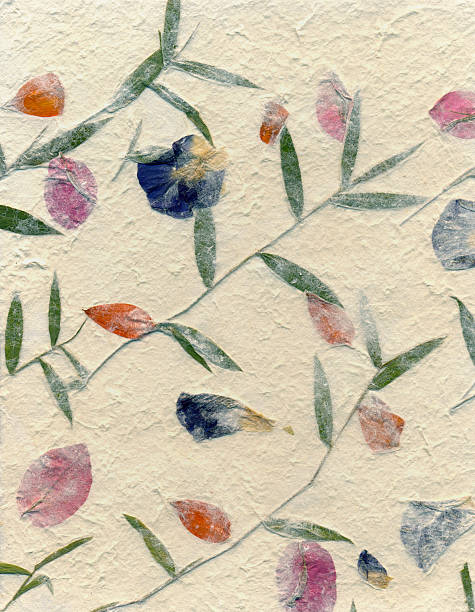 Handmade Papers - Pressed Flowers stock photo