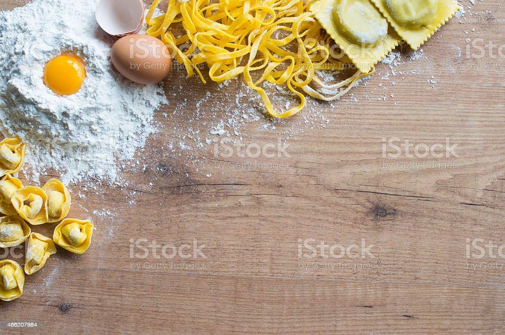 Handmade pasta background stock photo