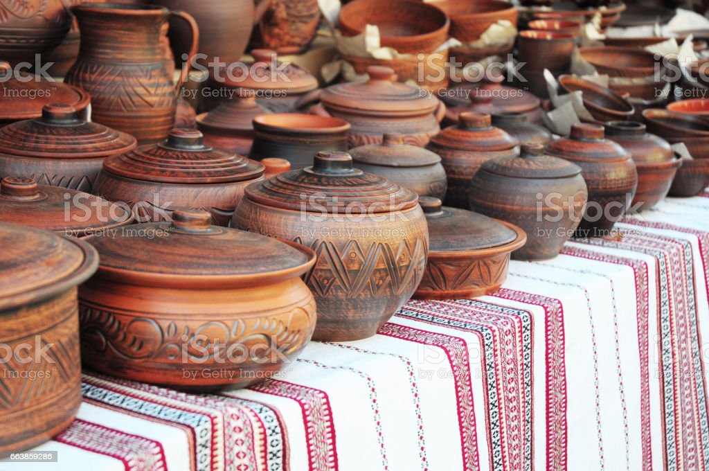 Handmade pottery. Traditional Ceramic Jugs. Handmade Ceramic Pottery with Ceramic Pots and Clay Plates. stock photo