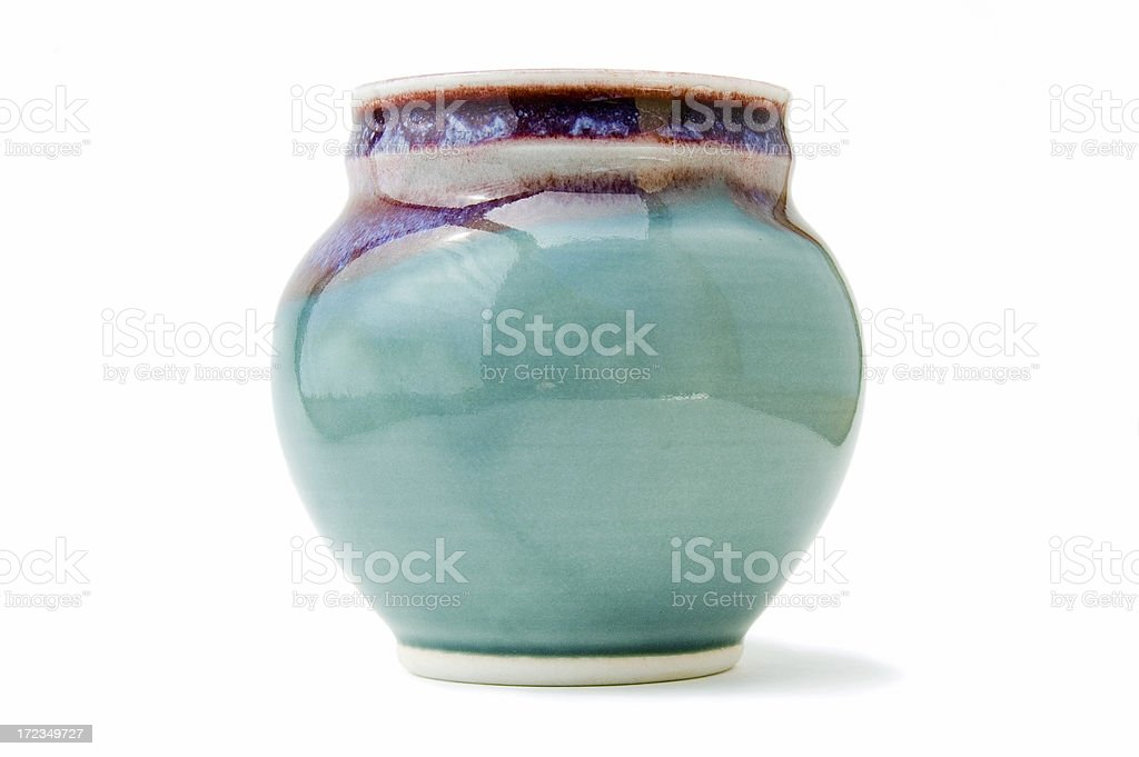 Handmade pottery vase on white stock photo