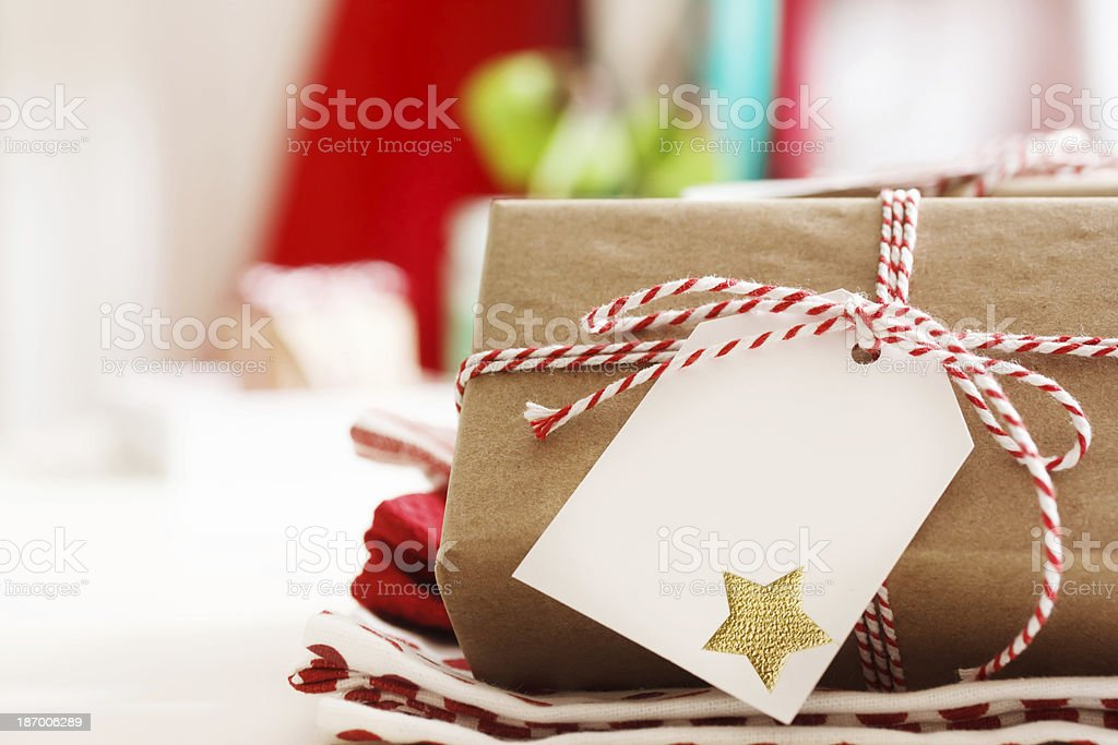 Handmade present boxes with tags Handmade present boxes with tags and twine cord ribbons Art And Craft Stock Photo