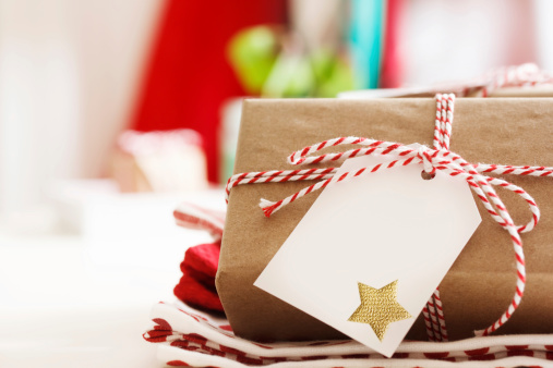 Handmade Present Boxes With Tags Stock Photo - Download Image Now