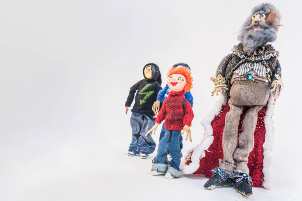 handmade puppets used by an artist to make stop motion animated movie - stop motion stock photos and pictures