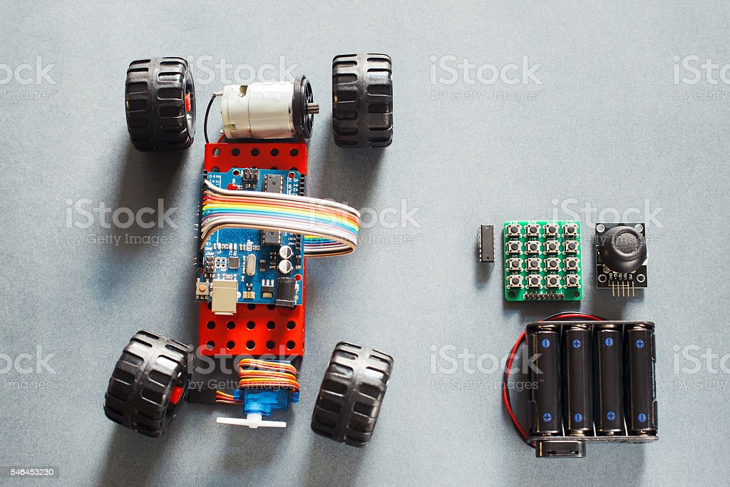 Handmade rc car model, construction on electronic stock photo