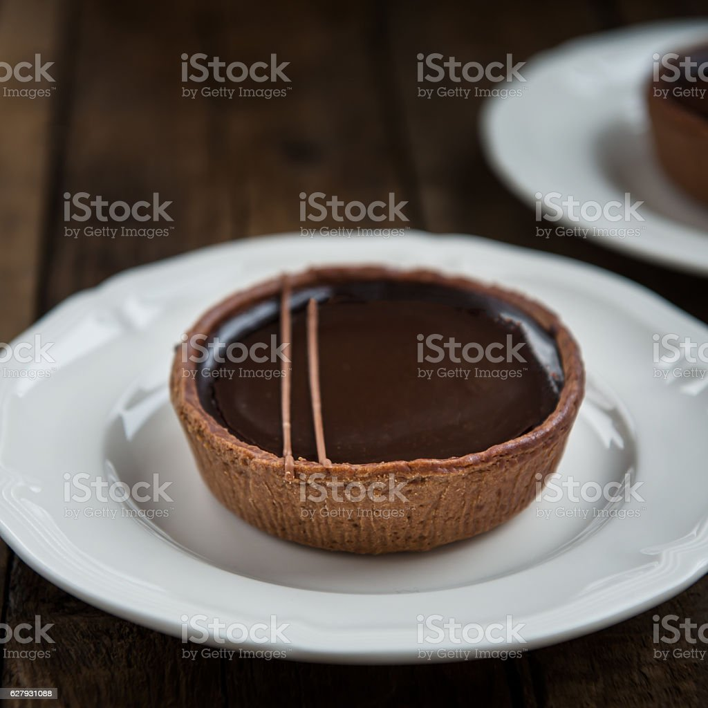 Handmade Rich Chocolate Tartlets - foto de acervo