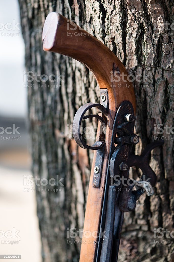 Handmade rifle of a Chinese minority resting against a tree stock photo