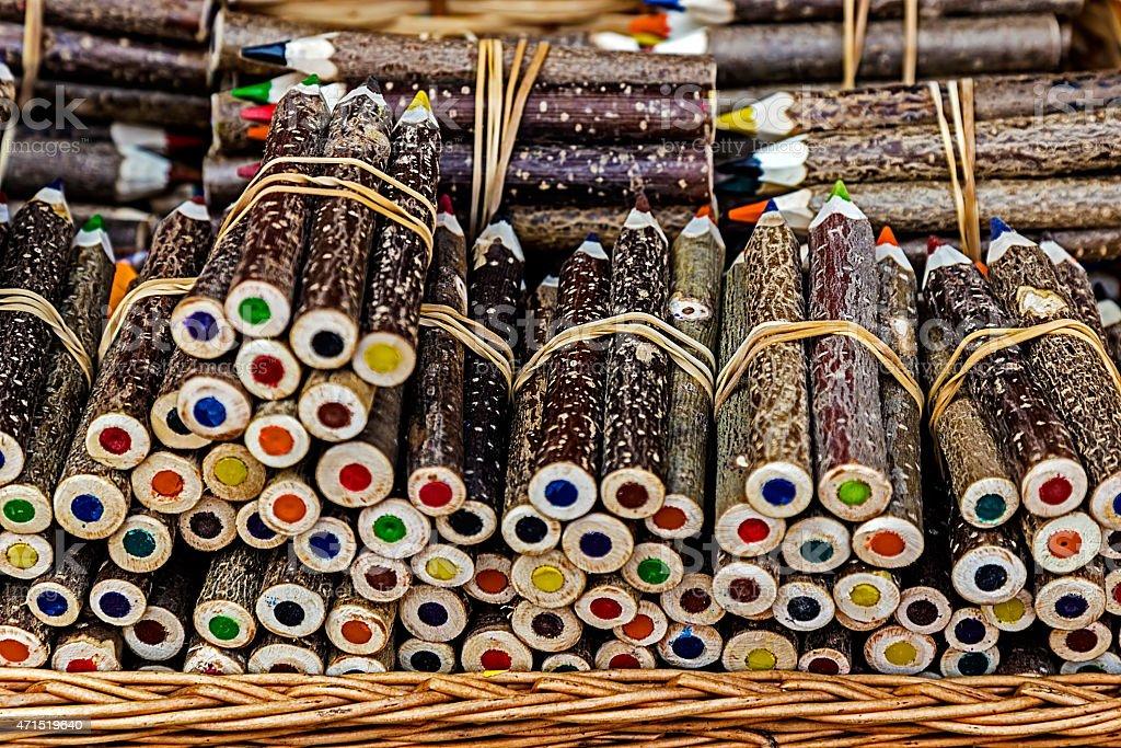 Handmade rustic colored pencils stock photo