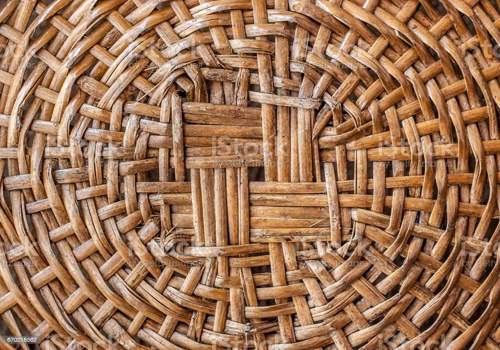 Handmade Rustic Vine Wood basket inside perspective circle stock photo