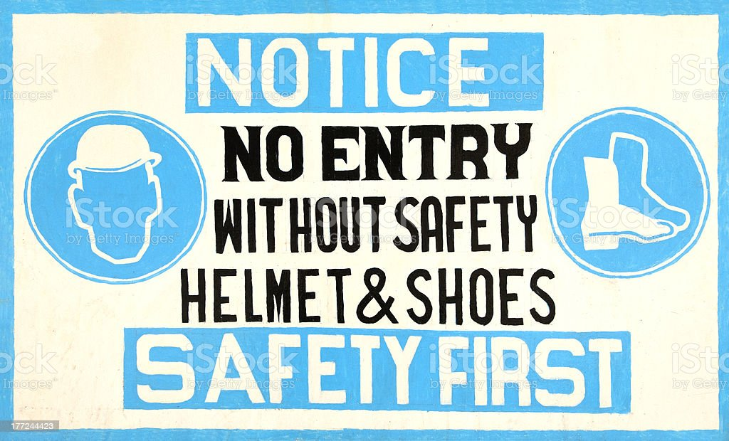 Hand-made safety sign stock photo