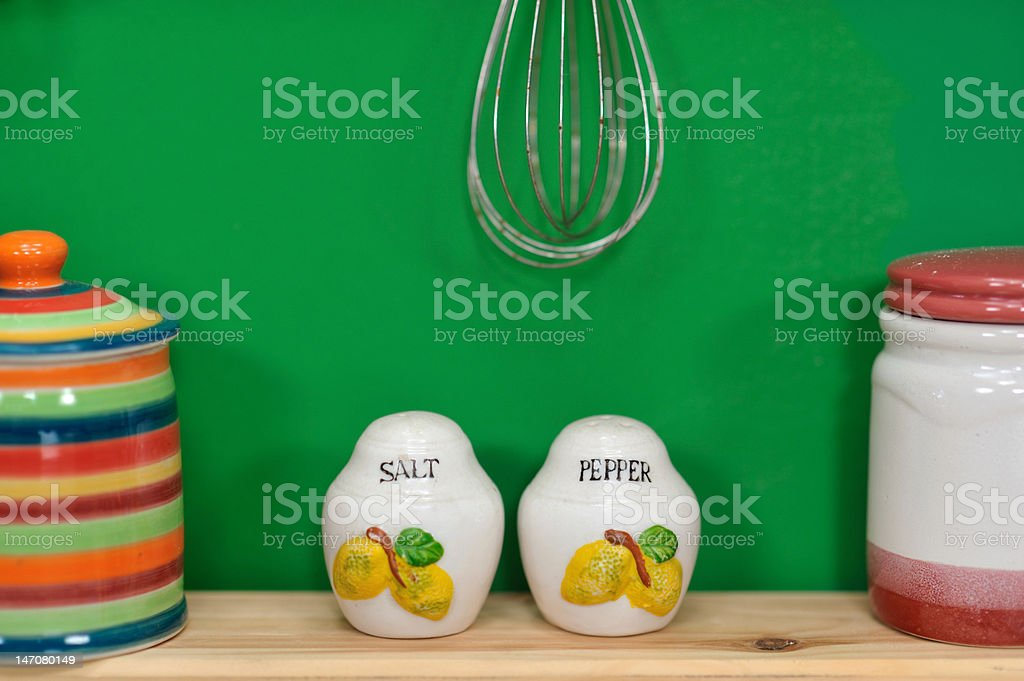 Handmade Salt and Pepper Shakers royalty-free stock photo