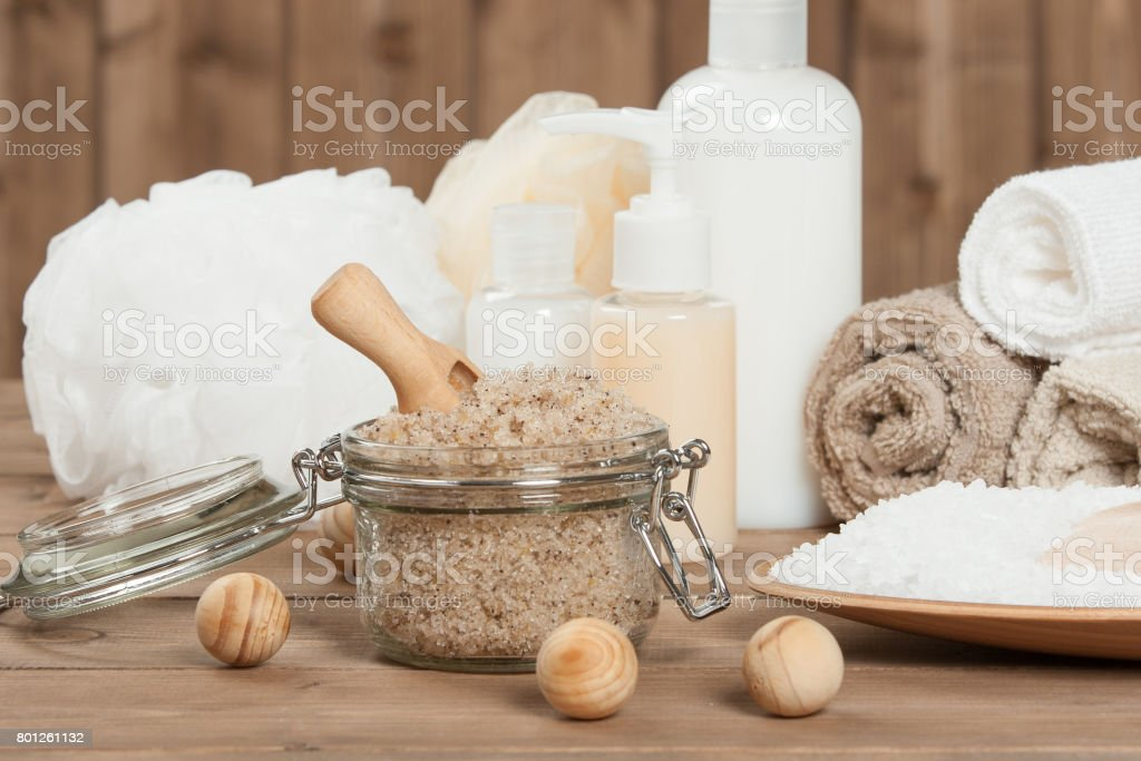 Handmade Scrub With Coffee, Lemon And Argan Oil. Dead Sea Bath S stock photo