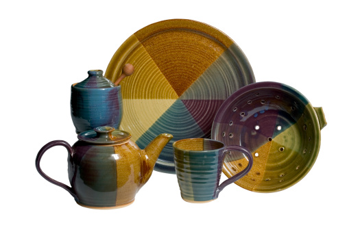 Handmade set of pottery with clipping path