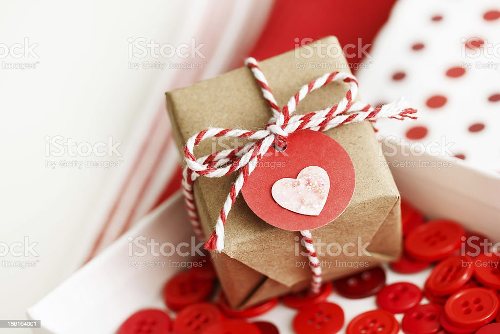 Handmade small gift box with heart royalty-free stock photo