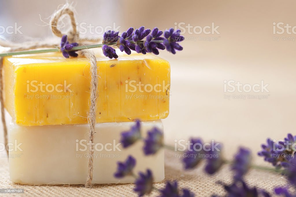 handmade  soap bars with lavender flowers, shallow DOF stock photo