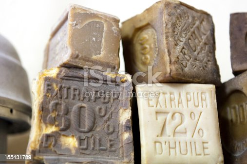 Old Handmade soap closeup made in Marseille - France.