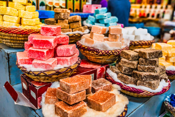 Handmade soap on display in souks of Morocco stock photo