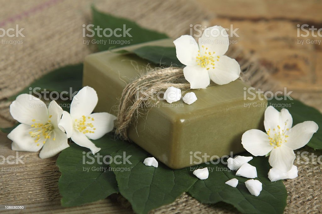 Handmade soap on leaves royalty-free stock photo