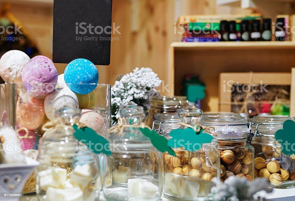 Handmade soap on Vilnius Christmas Market in Lithuania stock photo