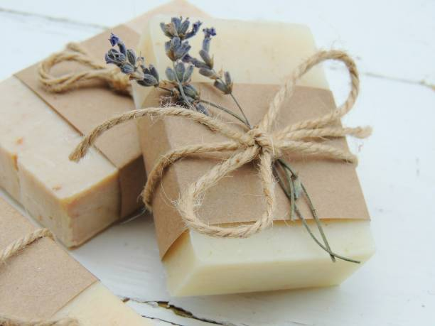 handmade spa bath soap on vintage wooden background. - sapone foto e immagini stock
