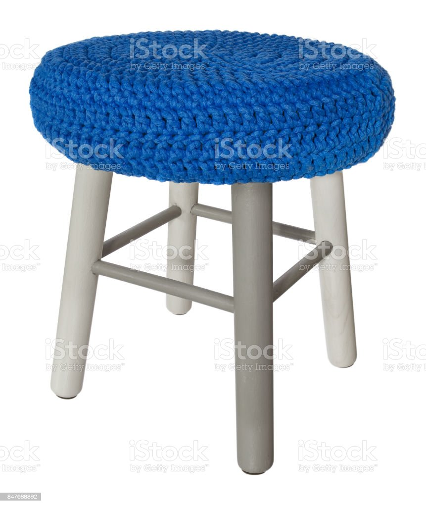 Astounding Handmade Stool Wooden Gray And White Round Seat With Blue Ibusinesslaw Wood Chair Design Ideas Ibusinesslaworg