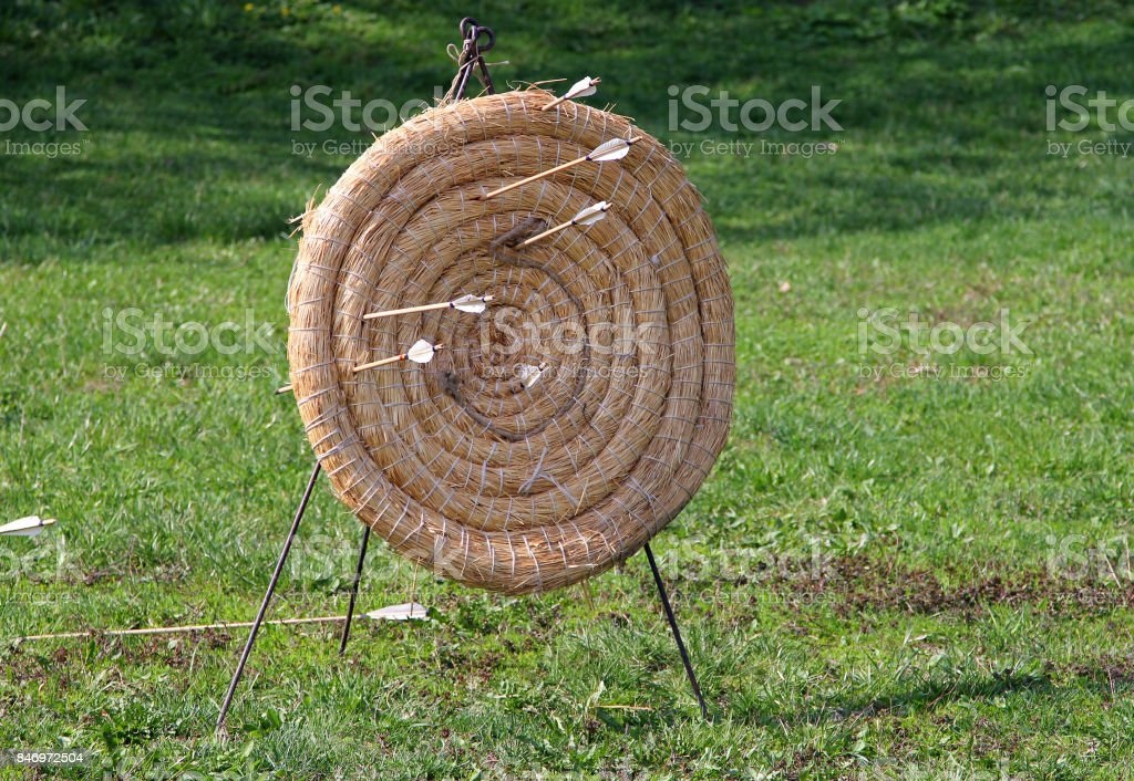 Handmade target for archery at the historic festival stock photo