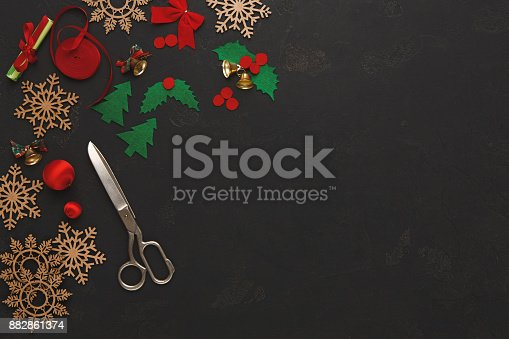 istock Handmade tools for making christmas gift top view 882861374