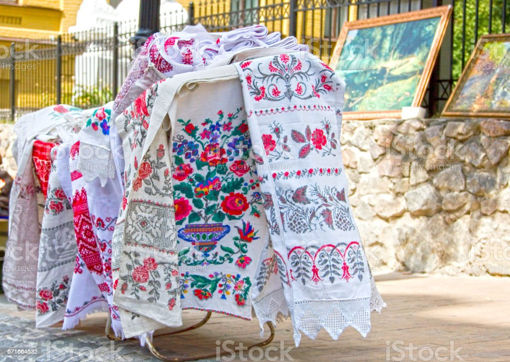 Handmade Ukrainian embroidery towel at Andriivsky descent, Kiev, stock photo