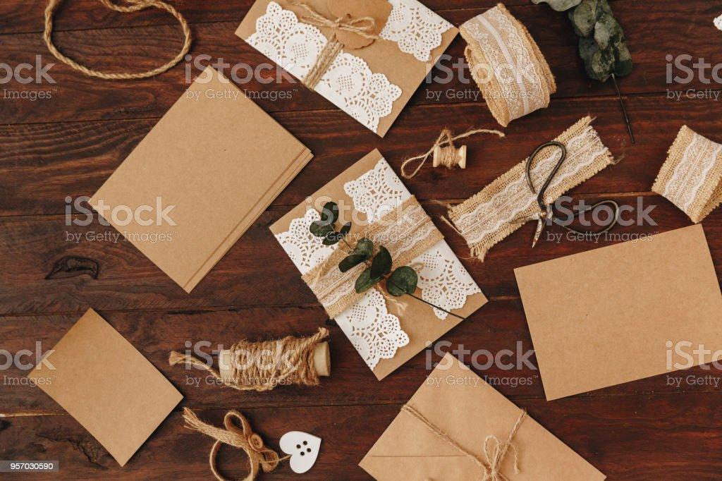 Handmade Wedding Invitation Card Diy Concept With Eco Kraft Items
