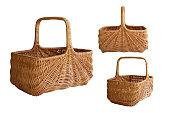 Handmade wicker basket of withe, folk craft. Picnic food basket. Isolated, white background.