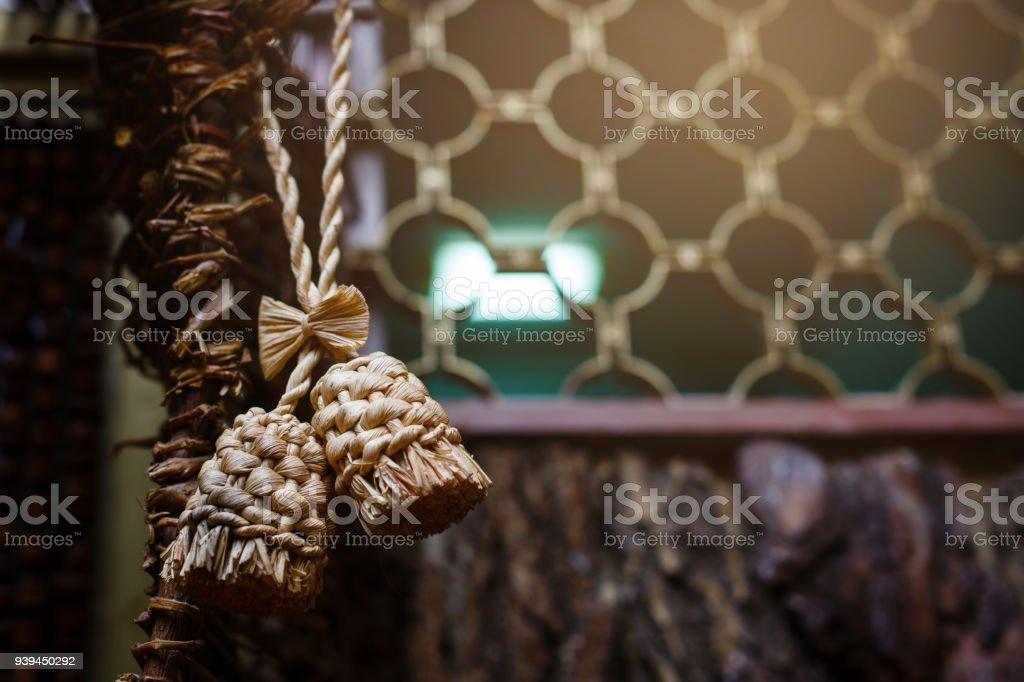Handmade wicker straw stock photo
