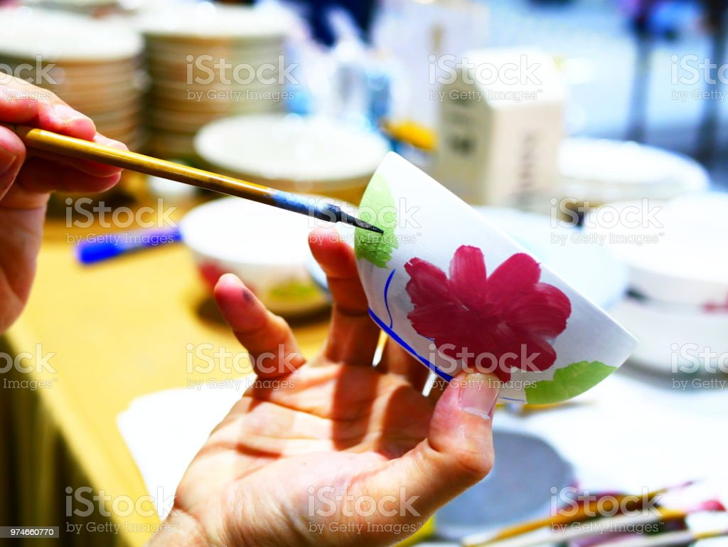 Handmade with paints a ceramic stock photo