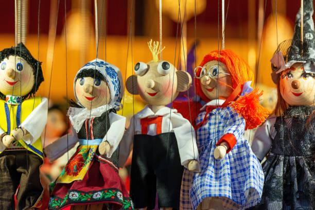 Handmade Wood Puppets, Prague, Czech Republic stock photo