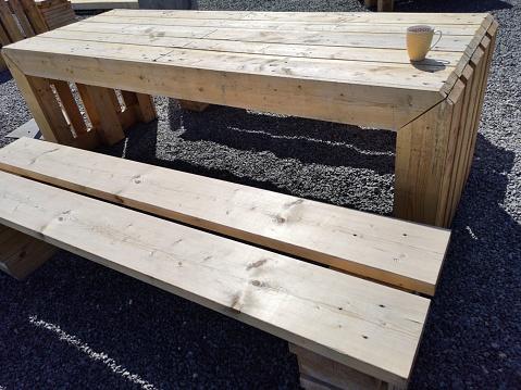 Handmade Wooden Garden Table Stock Photo - Download Image Now - IStock