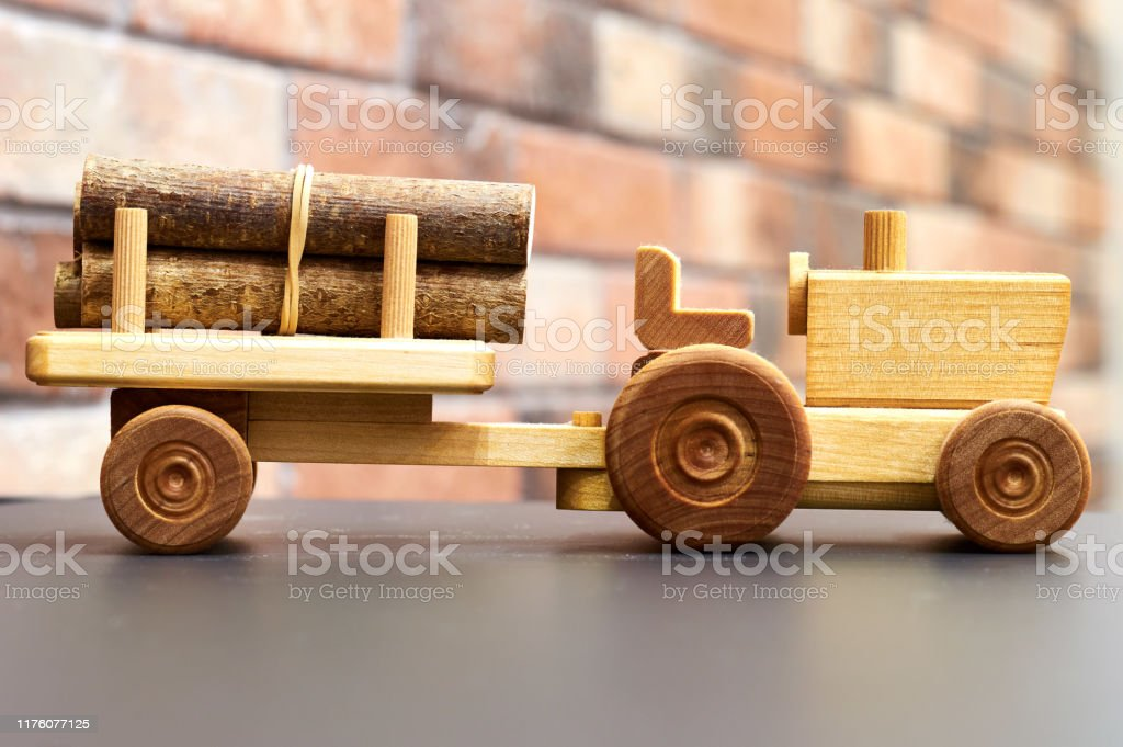 Handcrafted Wooden Toy Tractor Trailer