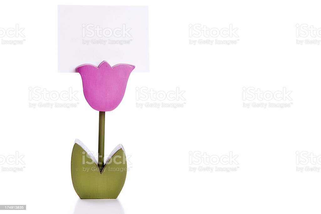Handmade Wooden Tulip as Note/Sign Holder royalty-free stock photo
