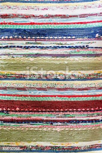 Old retro handmade woven runner with fabric scrap