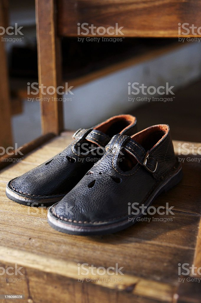 Handmake African Girls School Shoes stock photo