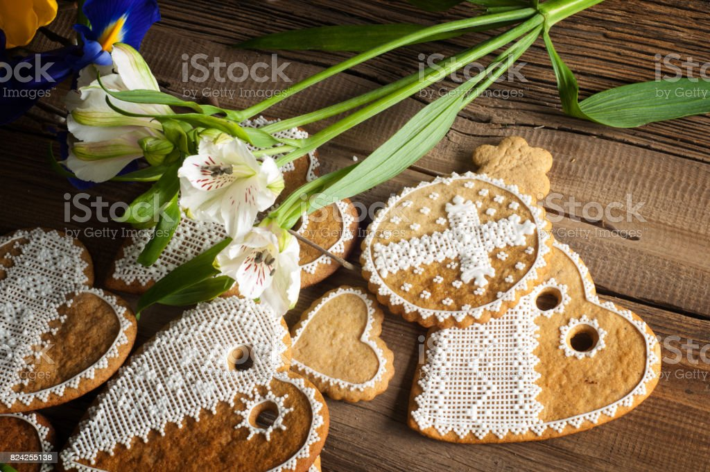 hand-painted cookies stock photo