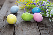 Hand-painted easter eggs with flowers