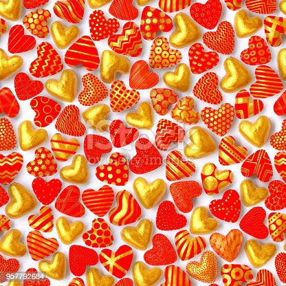 886746424istockphoto Hand-painted small three-dimensional swollen hearts with various patterns on the surface - seamless texture in gold and intense red colors 957792684